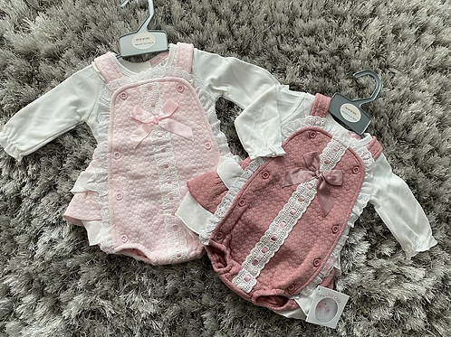 Spanish bow and lace romper NB-6 Months