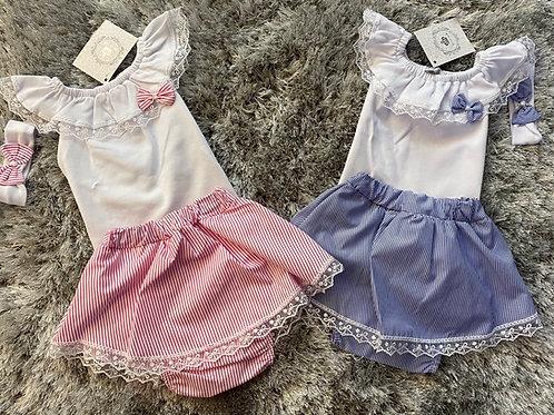 Beau Kids pin striped skirt set 0-18 Months