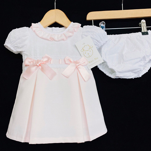 Wee Me pink waffle dress and knickers