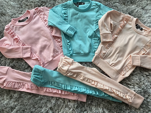 Girls ruffled lounge sets Ages 2-14 Years