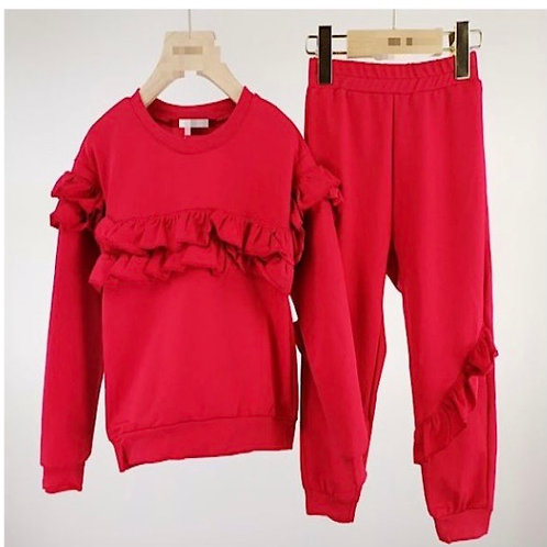 Red ruffled lounge set Ages 4-10 Years