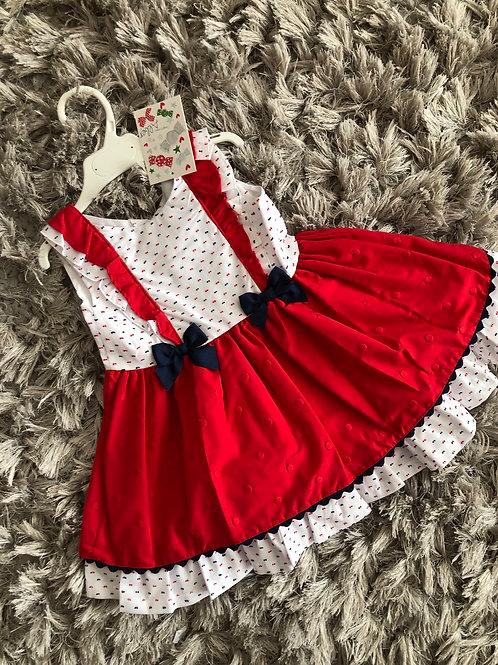 Alber Red and Navy Spanish drop waist dress 18M - 4 yrs