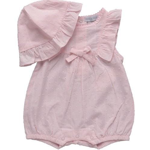 Dobby Dot romper and hat 9-24 M