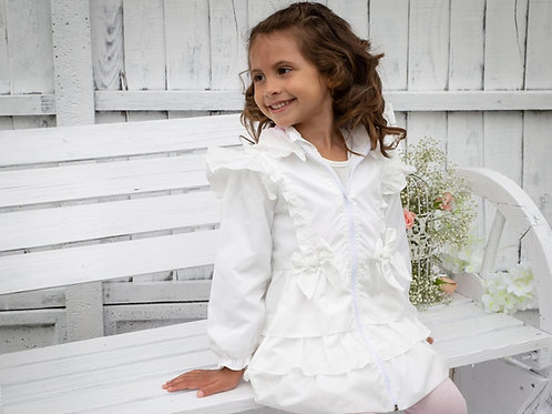 Caramelo white bow ruffled summer jacket ages 2-8 Years