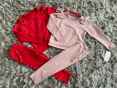 Pearl bows lounge sets red/pink Ages 4-14 Years