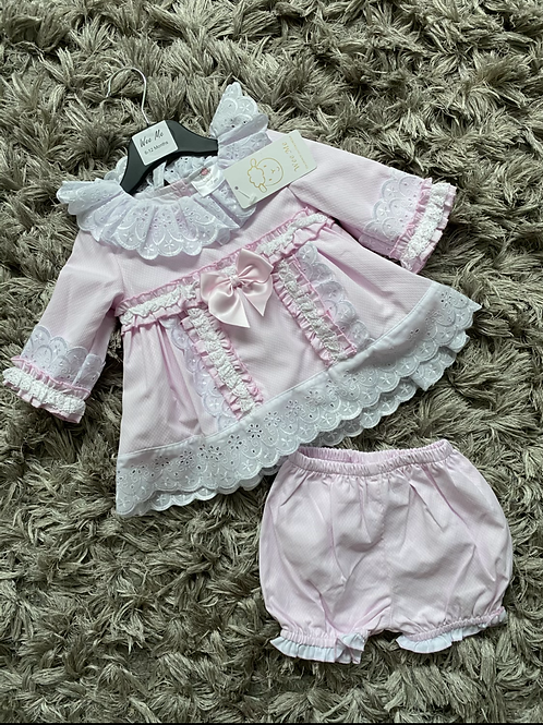 Wee Me pink embroider frill collar dress 6-18 Months