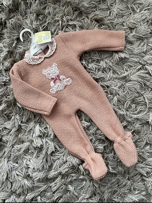 Dusky pink teddy romper 0-12 Months