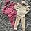 Thumbnail: Velvet shoulder bow lounge sets beige/pink ages 2-12 Years