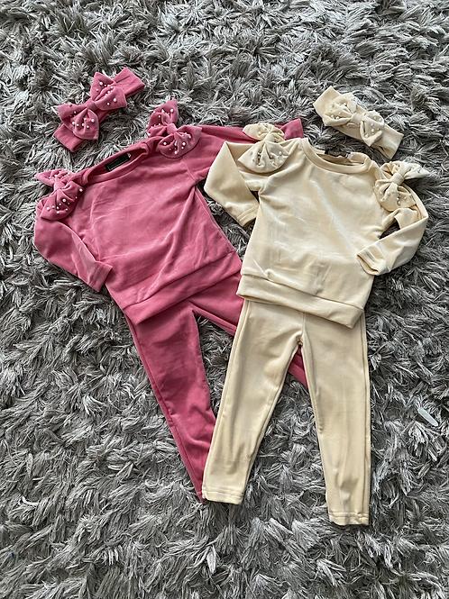 Velvet shoulder bow lounge sets beige/pink ages 2-12 Years