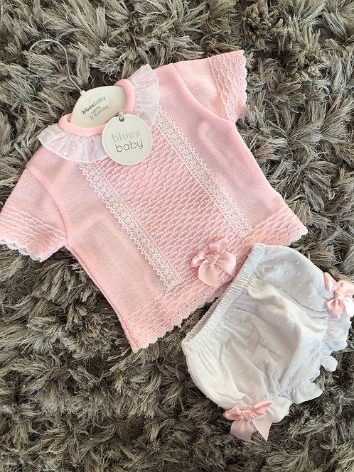 Blues baby bow and lace bloomer set 0-24 M