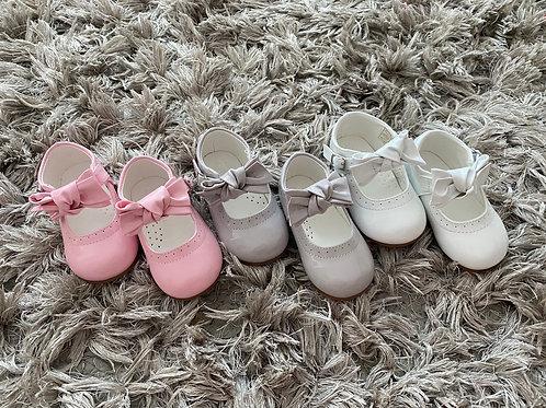 Spanish bow shoes pink/white/grey uk infant 3-10