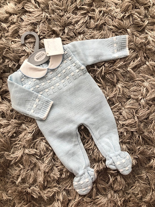 Sky blue / white knitted romper NB-9M