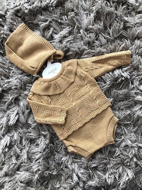 Caramel knitted collar 3 piece set 0-18 Months