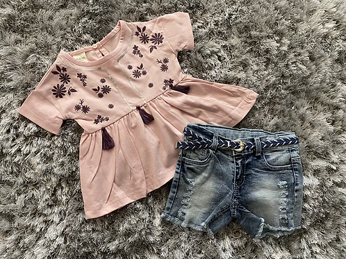 Pink/plum embroidered top/shorts set ages 2-5 Yrs