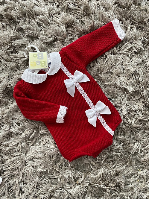 Bee Bo double bow romper 0-12 Months red