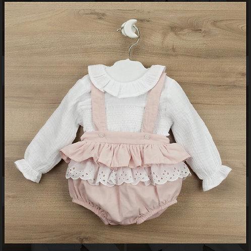 Babidu Pink/white shirt dress 3-36 Months