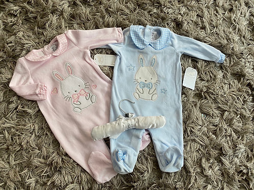 Bunny velour baby grows 0-9 Months