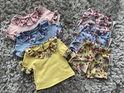 Girls floral Spanish shorts sets ages 1-10 Years