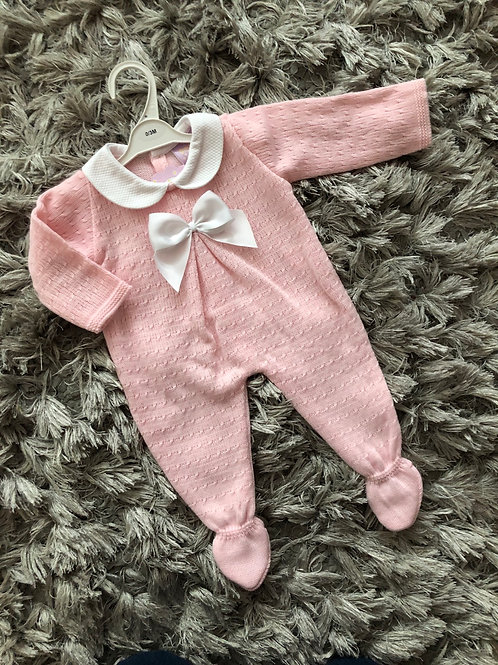 Pink collared bow All in one 0-9 M
