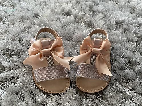 Blush Pink T Bar diamanté sandals EU 19-36