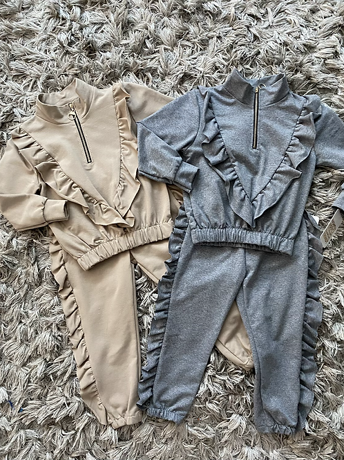 Zip up ruffle lounge sets grey/camel ages 4-14 yrs