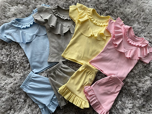 Girls ruffled shorts sets ages 2-12 Years