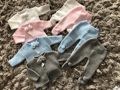 Knitted Pom Pom suits 0-12 Months