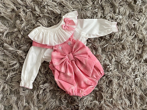Wee Me pink chequered bow romper 6M - 3 Yrs