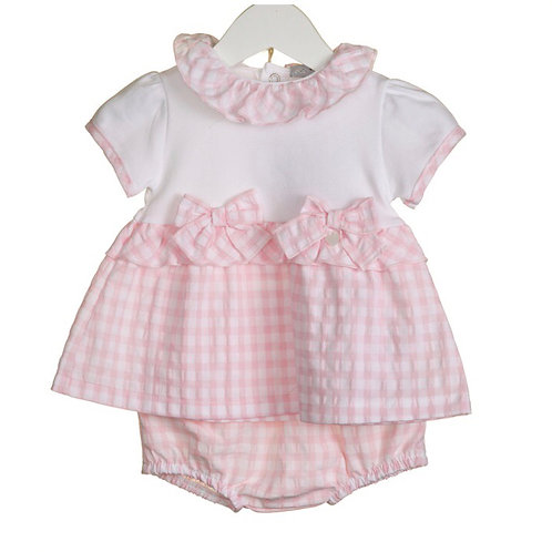 Blues baby pink gingham bow set 9-24 months