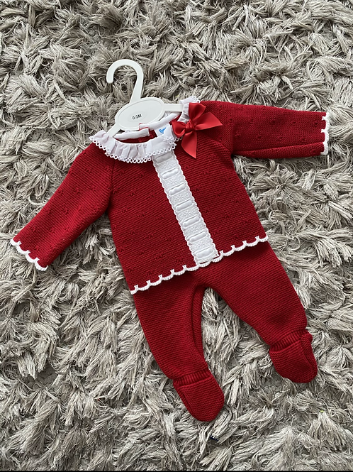 Spanish red knitted lace and bow two piece 0-12 Months