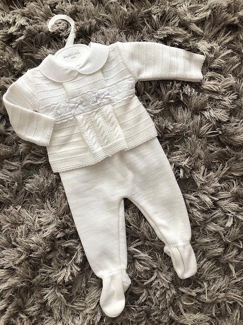 Mabini white 2 piece trousers set 0-9 M