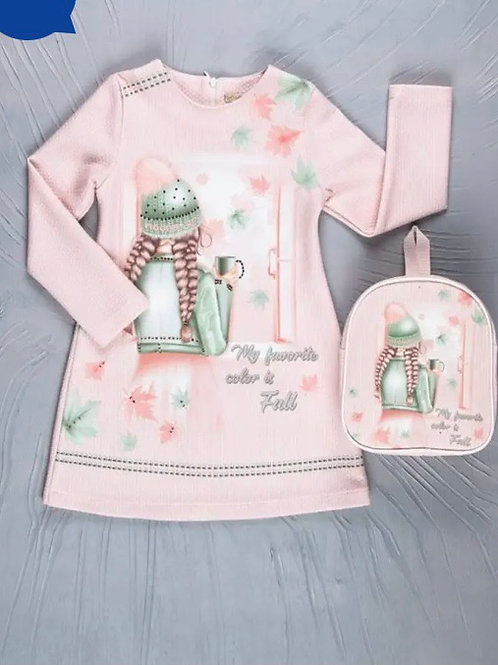 Doll dress with back pack 4-7 Y
