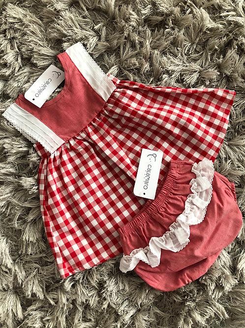 Calamaro red chequered dress 6-24 months