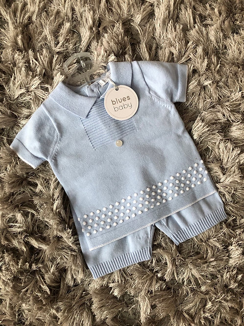 Blues baby bubble knit suit 0-24 months