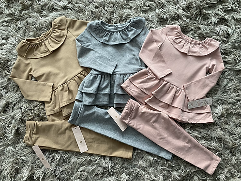 Frill collar back bow lounge set pink/camel/grey ages 2-12 Years