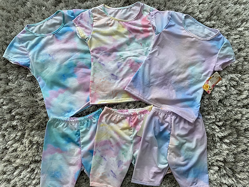 Tie dye shorts sets 4-14 years