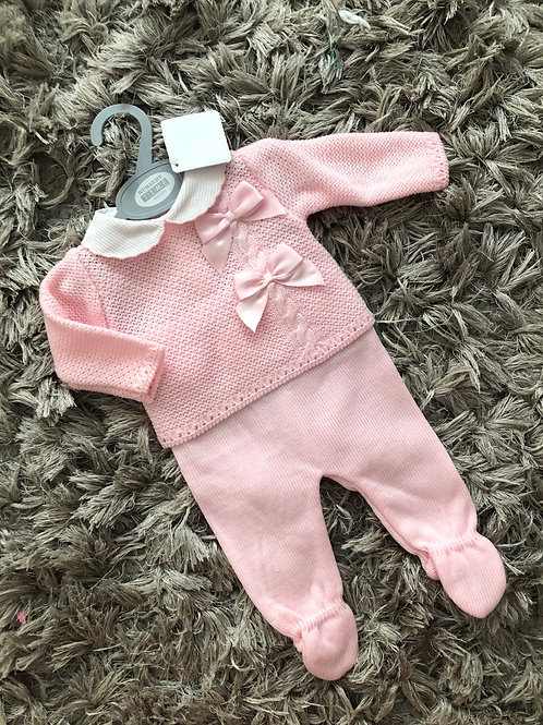 Pink cable knit bow two piece outfit NB-9Months
