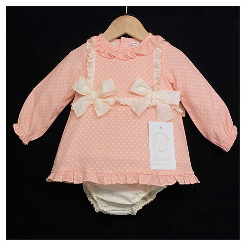 Wee Me Peach/Cream  A Line dress 0-3 Yrs