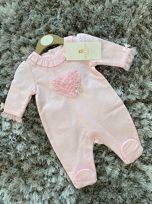 Mintini Baby heart ruffle all in one 1-6 Months