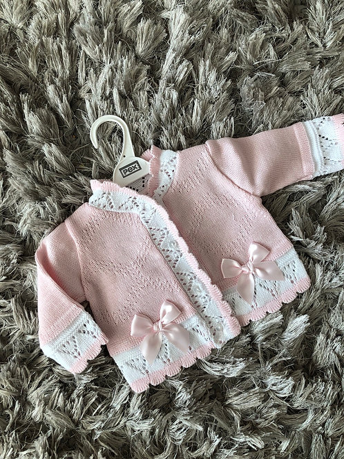 Pex Daliah Cardigan Pink/White Nb -24 M