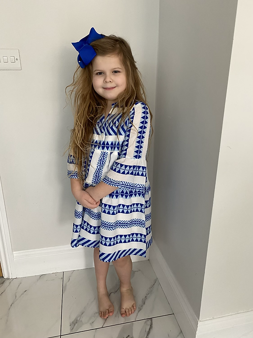Aztec Midnight blue dress age 4-14 Years