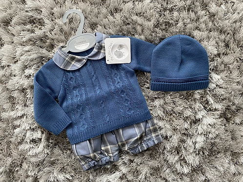 Boys jumper chequered shorts sets NB-9 Months
