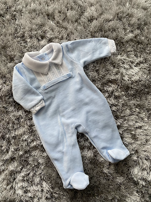 JTC smocked velour baby grow 0-6 Months