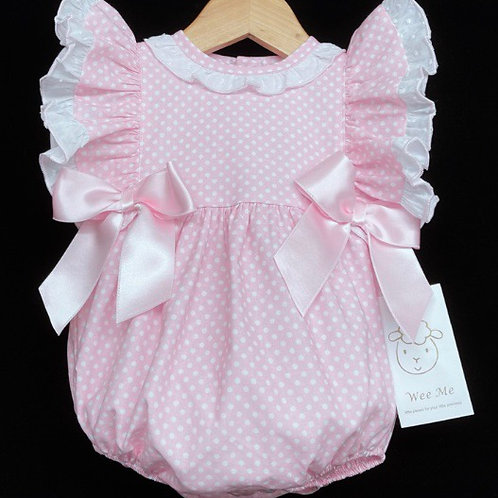 Wee Me pink spotted bow romper 0-36 Months