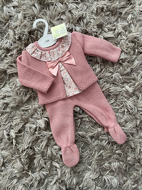 Dusky pink floral two piece 0-12 Months