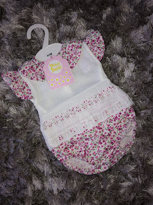 Pink rose white knitted Spanish set 0-9 months