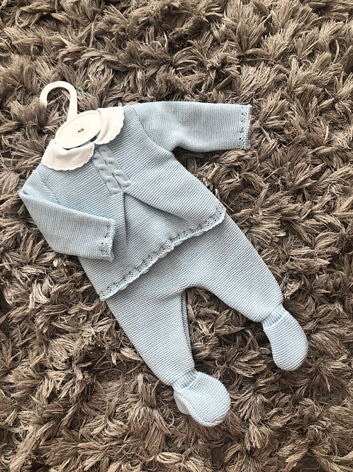 Nina's y Ninos blue cable knit two piece NB-6 M