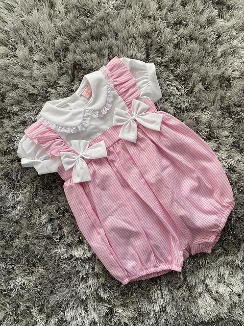 Pink gingham romper 0-9 Months
