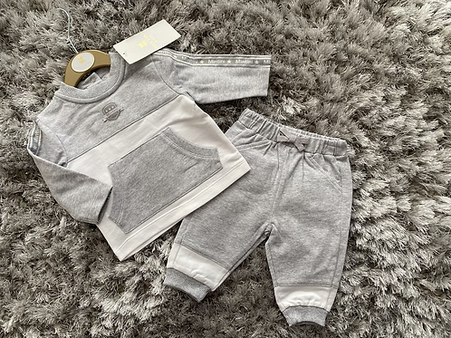 Mintini Baby grey/white jogging suit 0-5Yrs