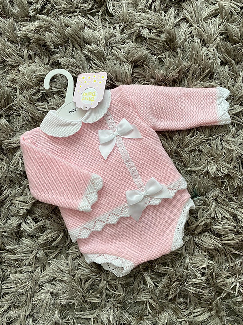 Bee Bo pink double bow two piece 0-12 Months